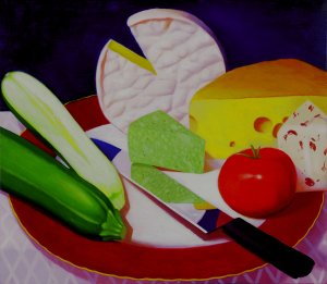 Still Life with Cheese<br>31x36 cm<br>Oil/Canvas<br>2014