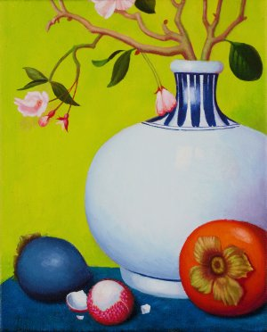 Still Life with Vase<br>26x21 cm<br>Oil/Canvas<br>2014