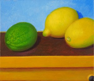 Still Life with Limett and Lemons<br>18x21 cm<br>Oil/Canvas<br>2014